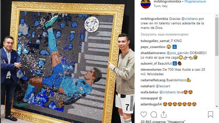 Колумбийский художник изобразил гол Роналду кристаллами Swarovski