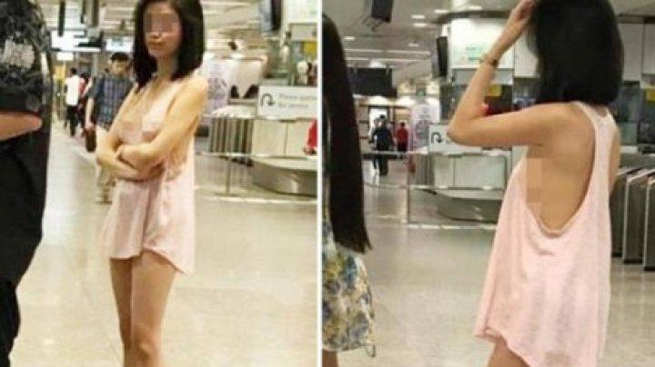 В метро Сингапура прокатилась полуголая девушка