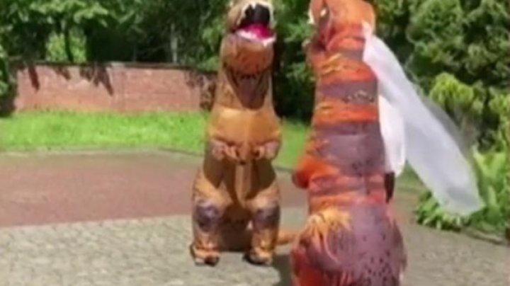 Молодожены пришли в ЗАГС в костюмах динозавров