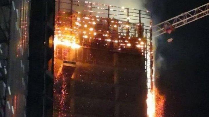 В Варшаве горит небоскрёб — видео