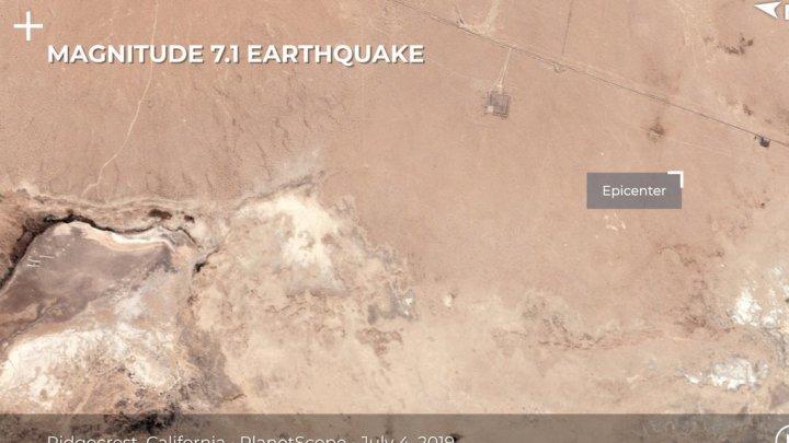 Землетрясение в Калифорнии привело к заметному из космоса разлому
