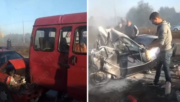 Цепная авария под Киевом: один из водителей оказался в железном плену (ВИДЕО)