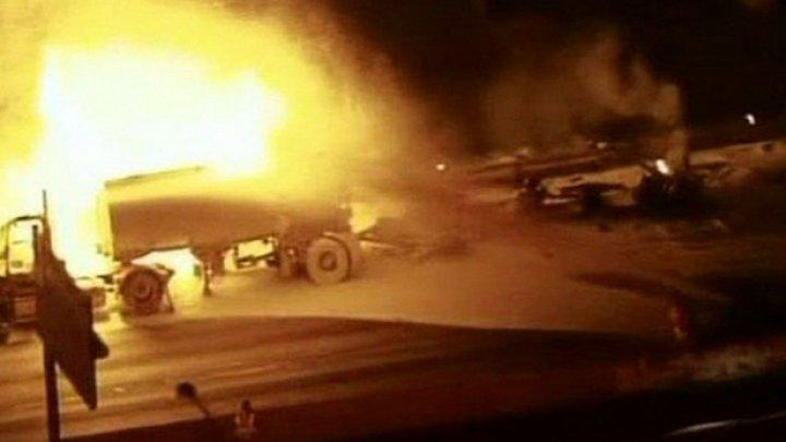 На Украине при движении военной колонны взорвался прицеп с ГСМ и взрывоопасными элементами