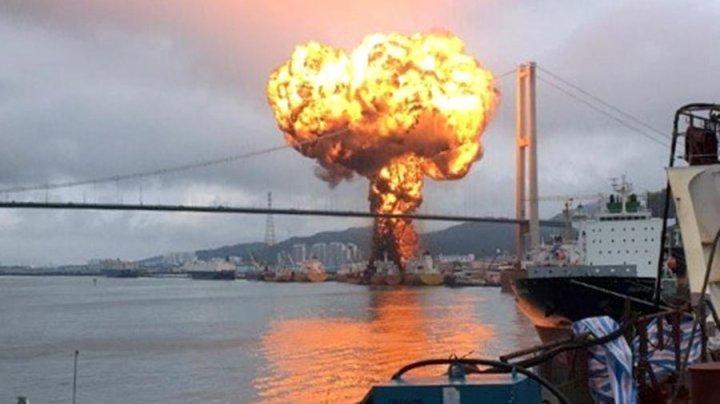 Взрыв в корейском порту попал на видео