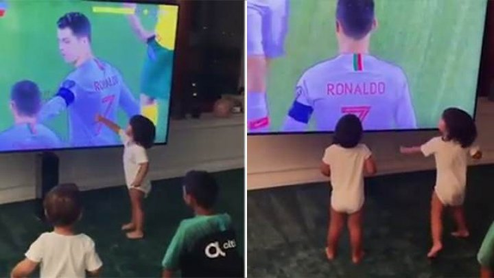 Невеста Роналду показала, как его дети празднуют голы отца