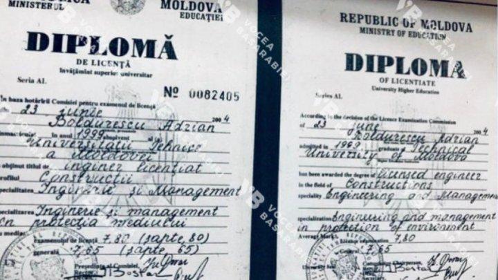 Версия: Адриан Болдуреску уволился из-за фальшивого диплома о высшем образовании