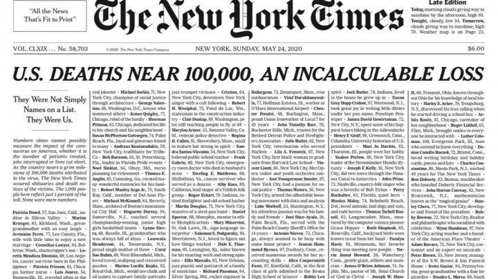 Ни статей, ни картинок, просто список: The New York Times посвятила первую полосу тысяче умерших из-за коронавируса