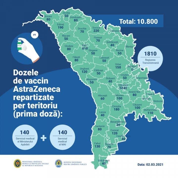 Карта: сколько прививок от коронавируса получили муниципии и районы Молдовы