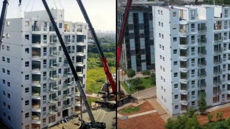 В Китае десятиэтажный дом построили за 29 часов с помощью небольшой бригады рабочих