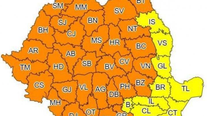 Штормовое предупреждение: в 32 уездах Румынии объявлен оранжевый уровень погодной опасности