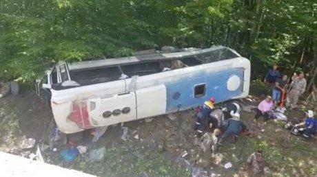В России перевернулся автобус с туристами: погибли два человека (ВИДЕО)