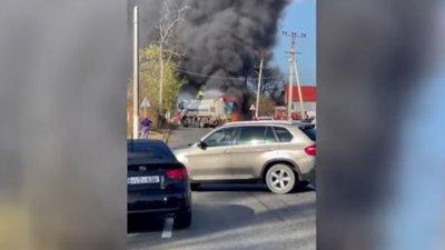 Горящий грузовик перекрыл трассу Кишинёв-Комрат (ВИДЕО)